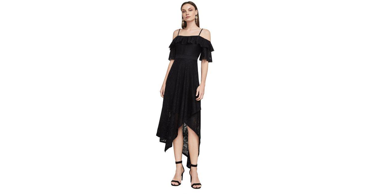 BCBGMAXAZRIA Womens Debbie Asymmetrical Lace Midi Dress