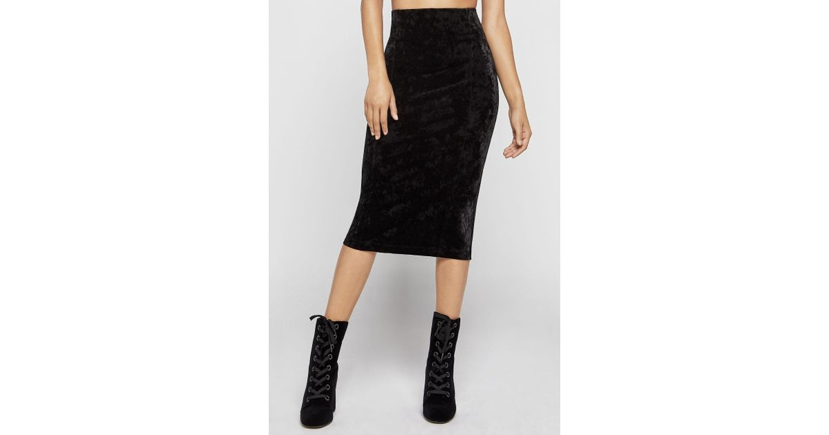 29e0533d89 BCBGeneration Crushed Velvet Corset Pencil Skirt in Black - Lyst