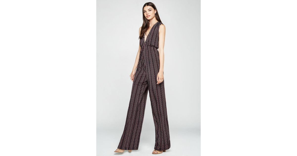 40b45b6900a Lyst - BCBGeneration Birchy Stripes Deep-v Jumpsuit in Black