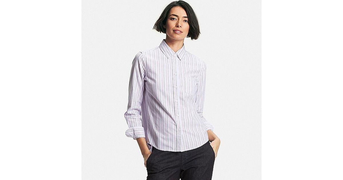 Uniqlo Oxford Striped Long Sleeve Shirt In Purple Lyst