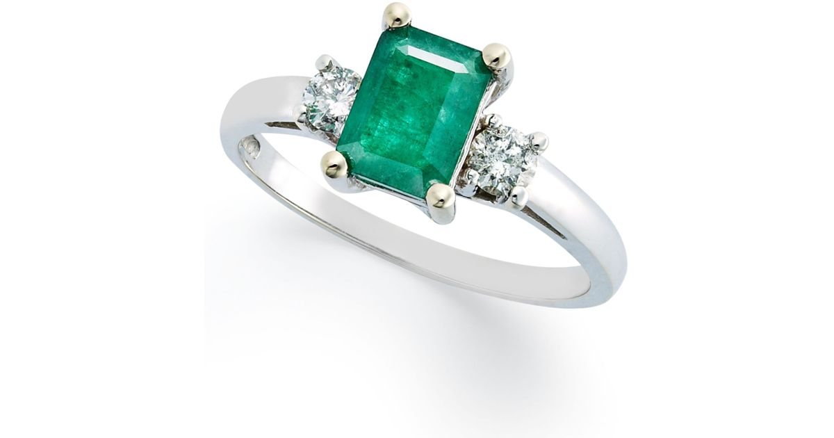 Macy s 14k White Gold Ring Emerald 3 4 Ct T w And Diamonds 1 5ct T