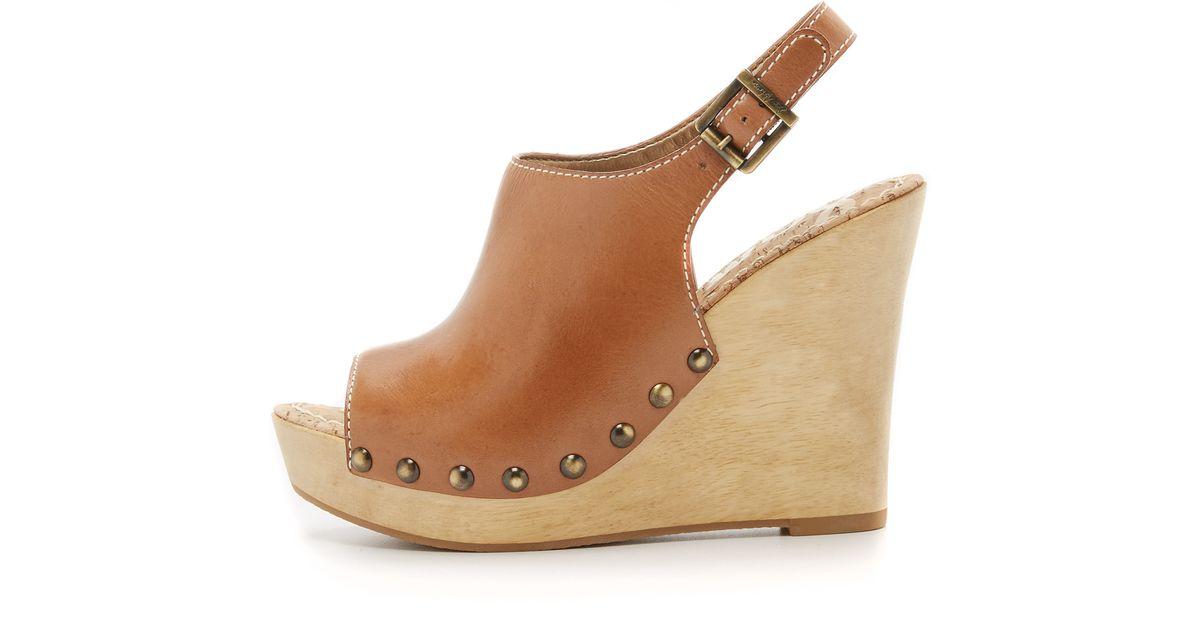 Sam Edelman Camilla Wedge Sandals In Brown Saddle Lyst