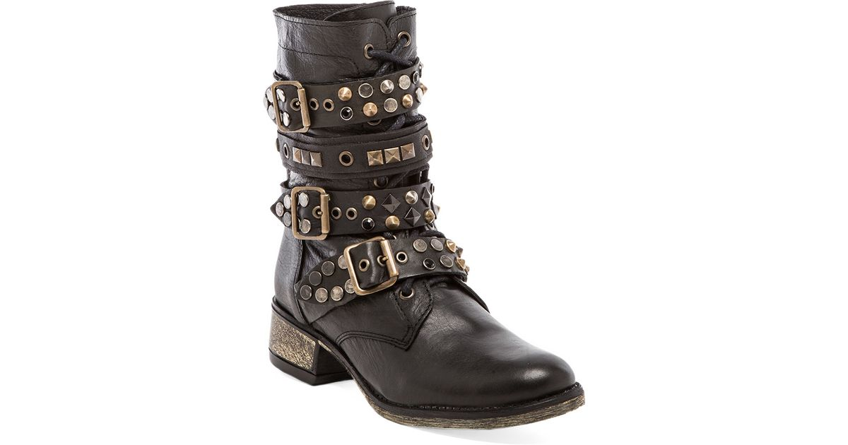 b4f152e073d Lyst - Steve Madden Lilian Studded Moto Boot in Black in Brown