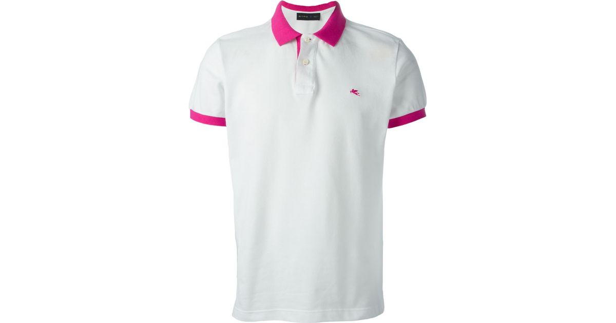 Etro Contrasting Collar And Cuffs Polo Shirt In White For