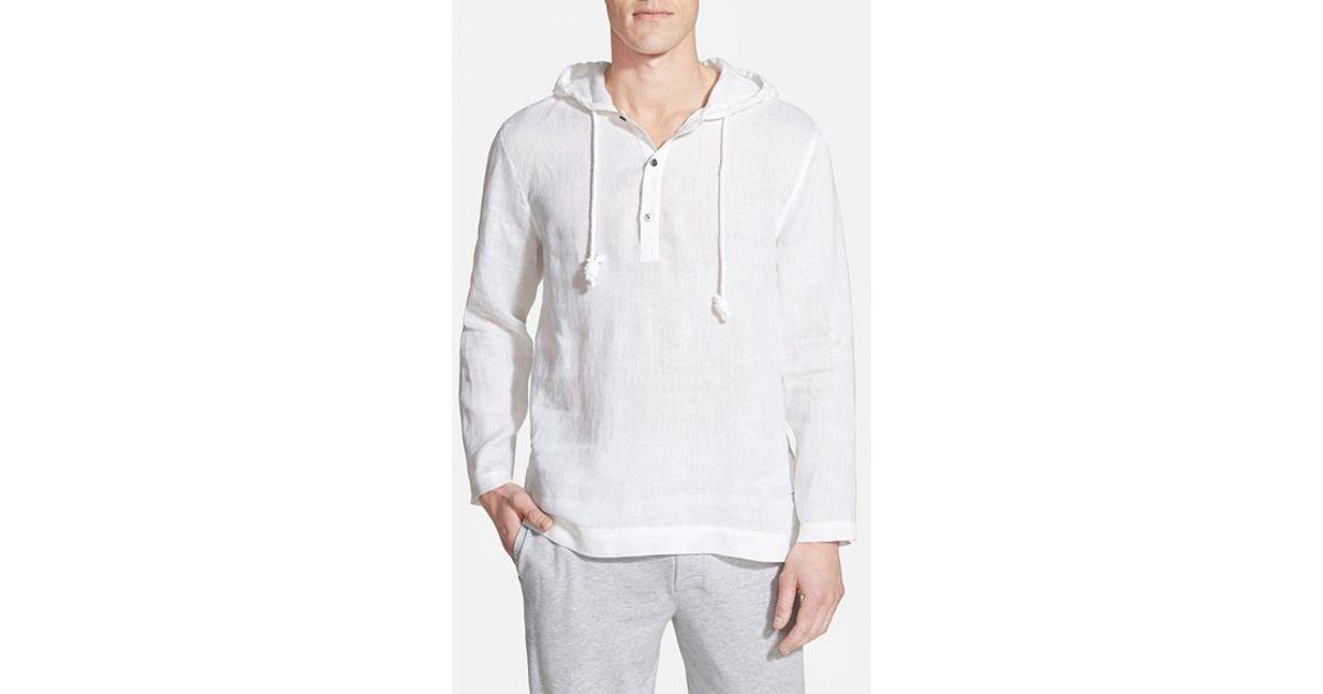 48b2db9b0aee Lyst - Daniel Buchler Woven Linen Hoodie in White for Men