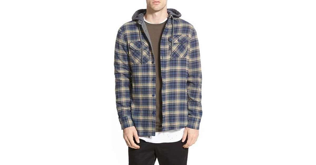 Globe alfred hooded flannel button down shirt in blue for for Mens shirts with snaps instead of buttons