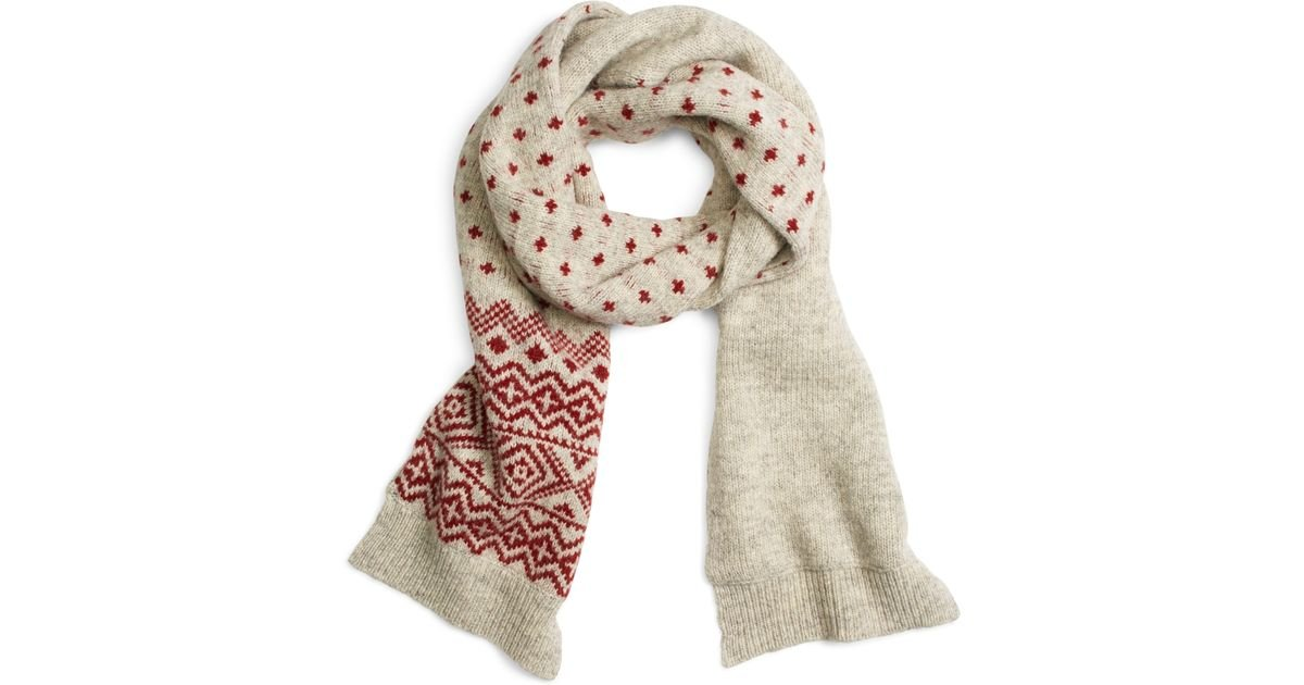 Brooks brothers Geometric Fair Isle Scarf in Red | Lyst