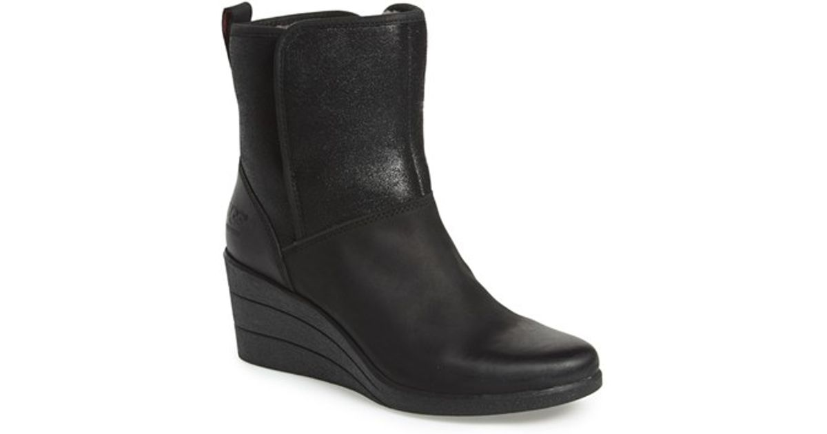 4b1cbfda128 Lyst - UGG Australia  renatta  Waterproof Wedge Bootie in Black