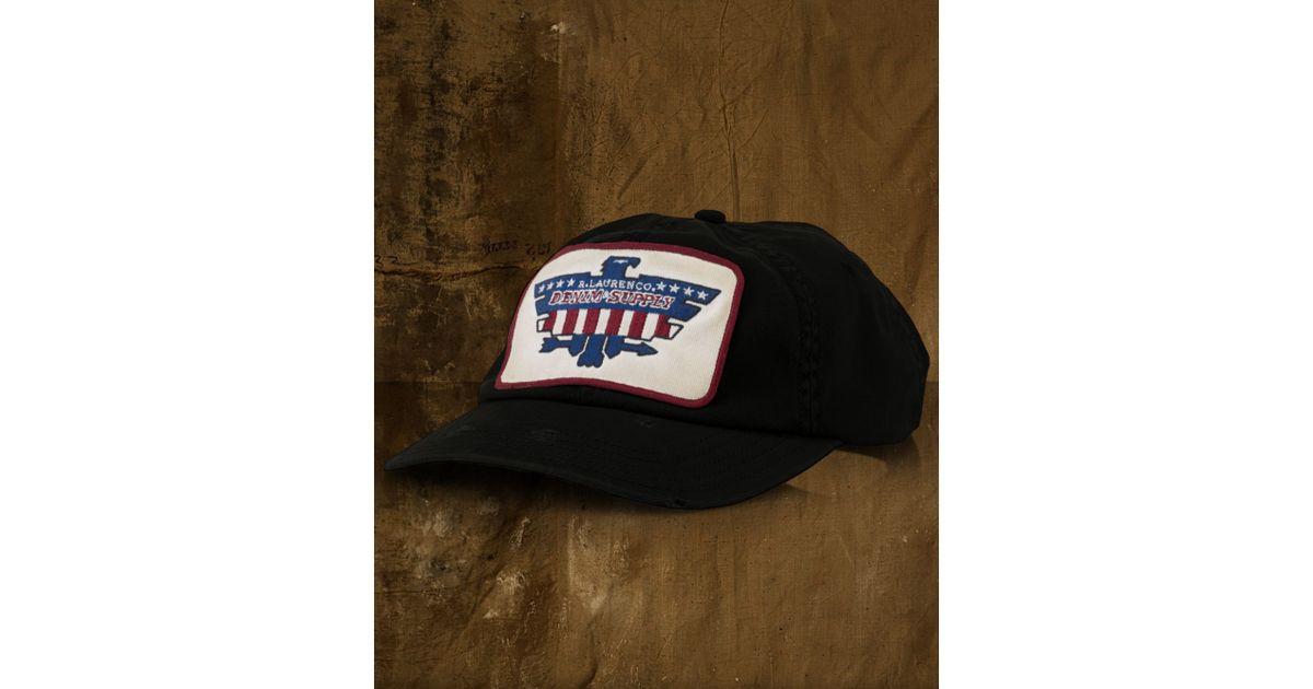 428b5dc304b Lyst - Denim   Supply Ralph Lauren Twill Eaglepatch Baseball Cap in Black  for Men