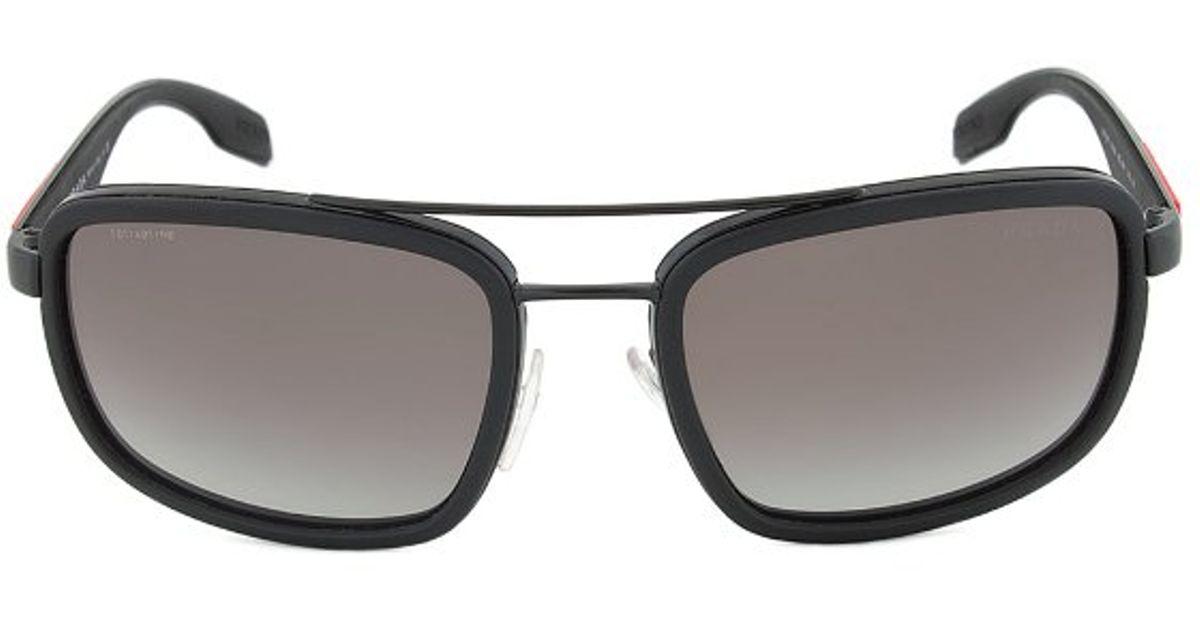 9b7695e1ab ... canada lyst prada sport sps 52p 1bo 3m1 black rectangular sunglasses in  black 2b0d5 7abf3