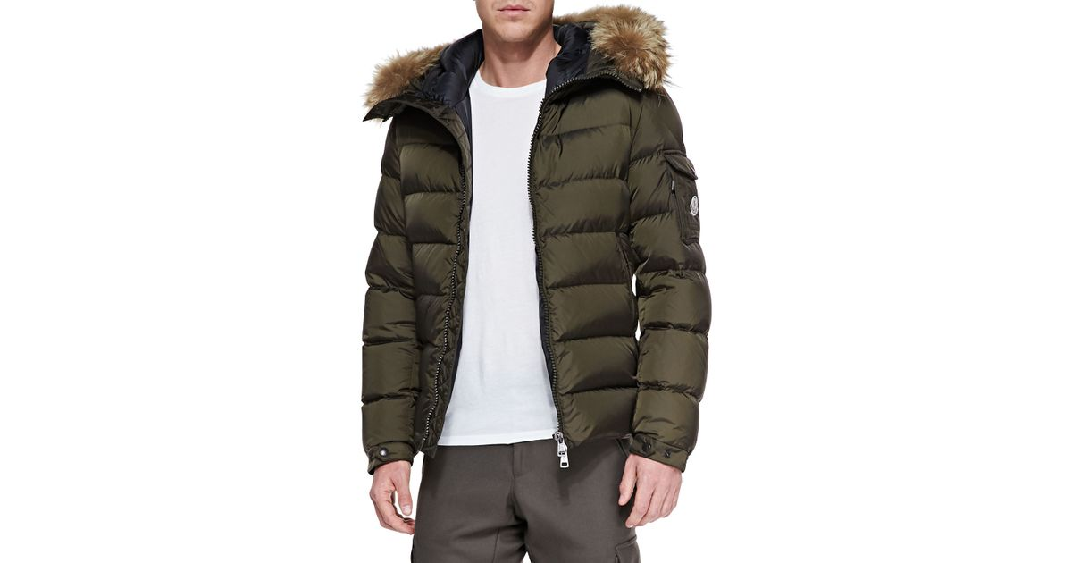 ae87c70461a3 Lyst - Moncler Byron Fur-Trim Hood Puffer Jacket in Brown for Men