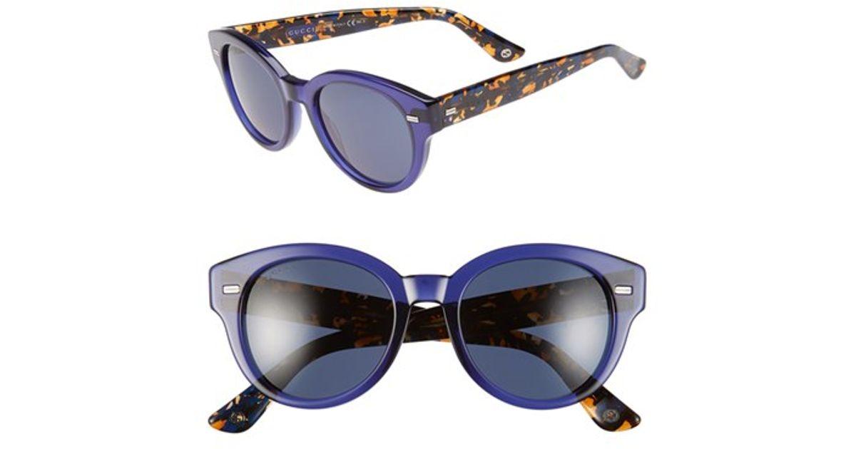 3308fc9091 Lyst - Gucci 50mm Retro Sunglasses in Blue
