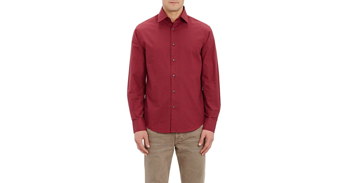 Mason 39 S Men 39 S Micro Checked Shirt In Red For Men Save 55