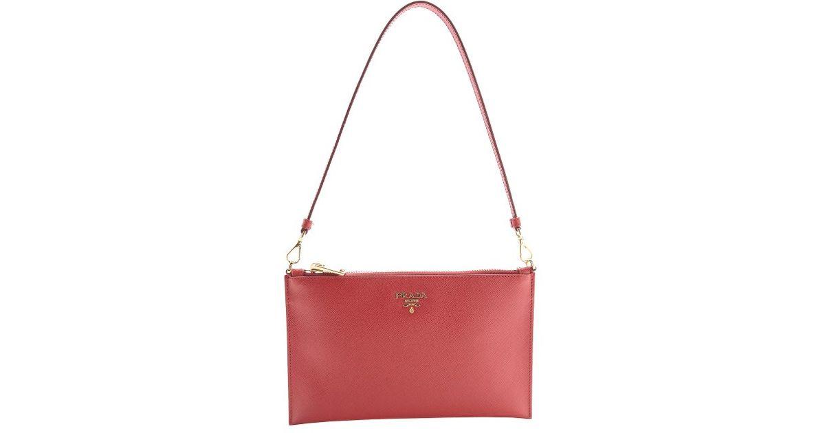 prada nylon crossbody bag small - Prada Red Leather Zip Top Convertible Clutch in Red | Lyst