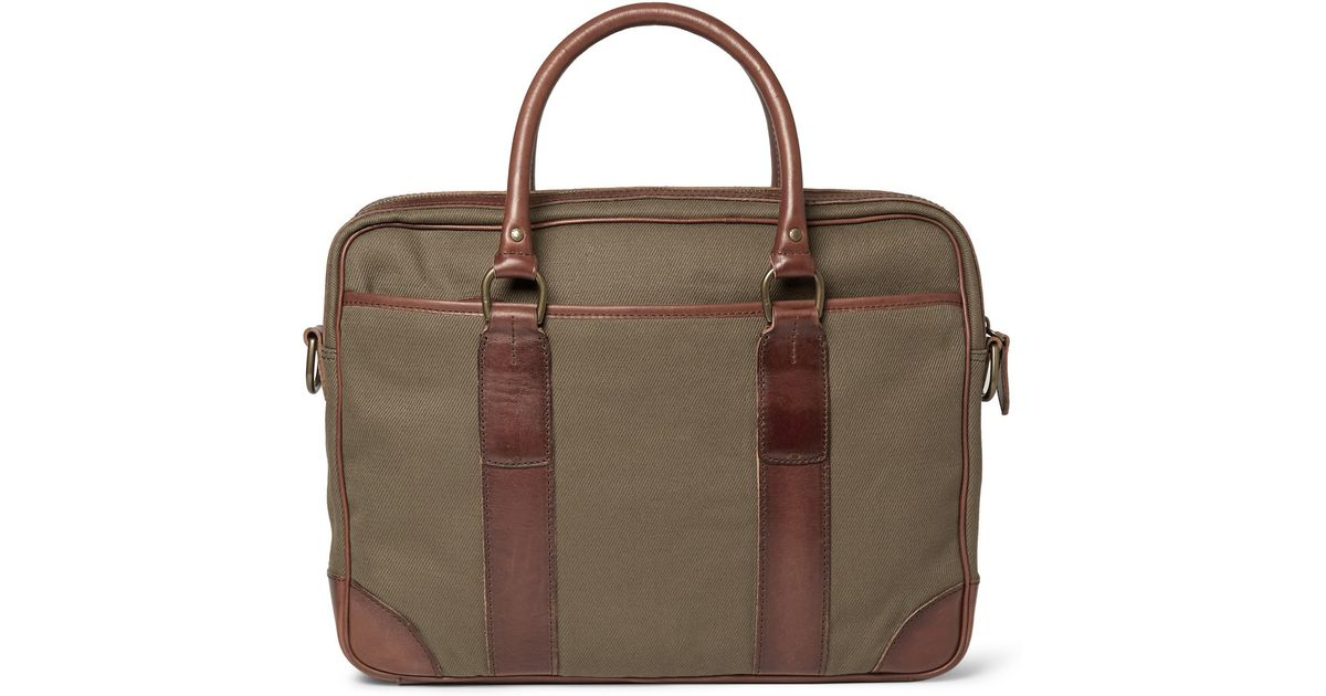 Polo Ralph Lauren Canvas and Leather Briefcase in Green for Men - Lyst 1e1ba807de521
