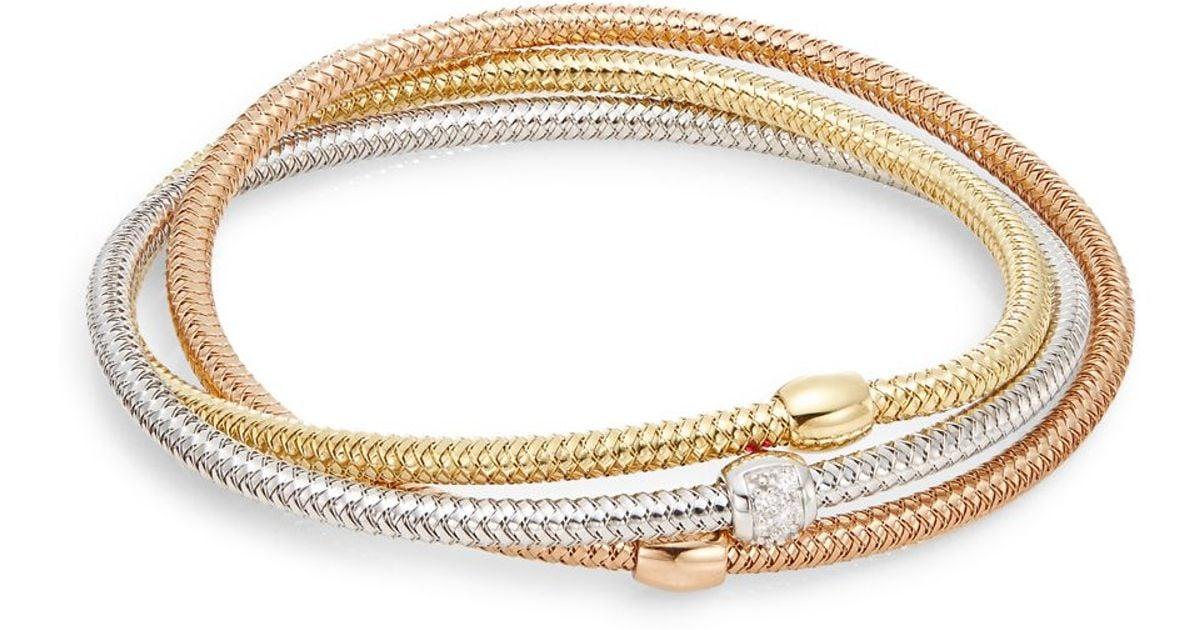 Lyst Roberto Coin Primavera Diamond 18k Tri Gold Mesh Bangle Bracelet In Metallic