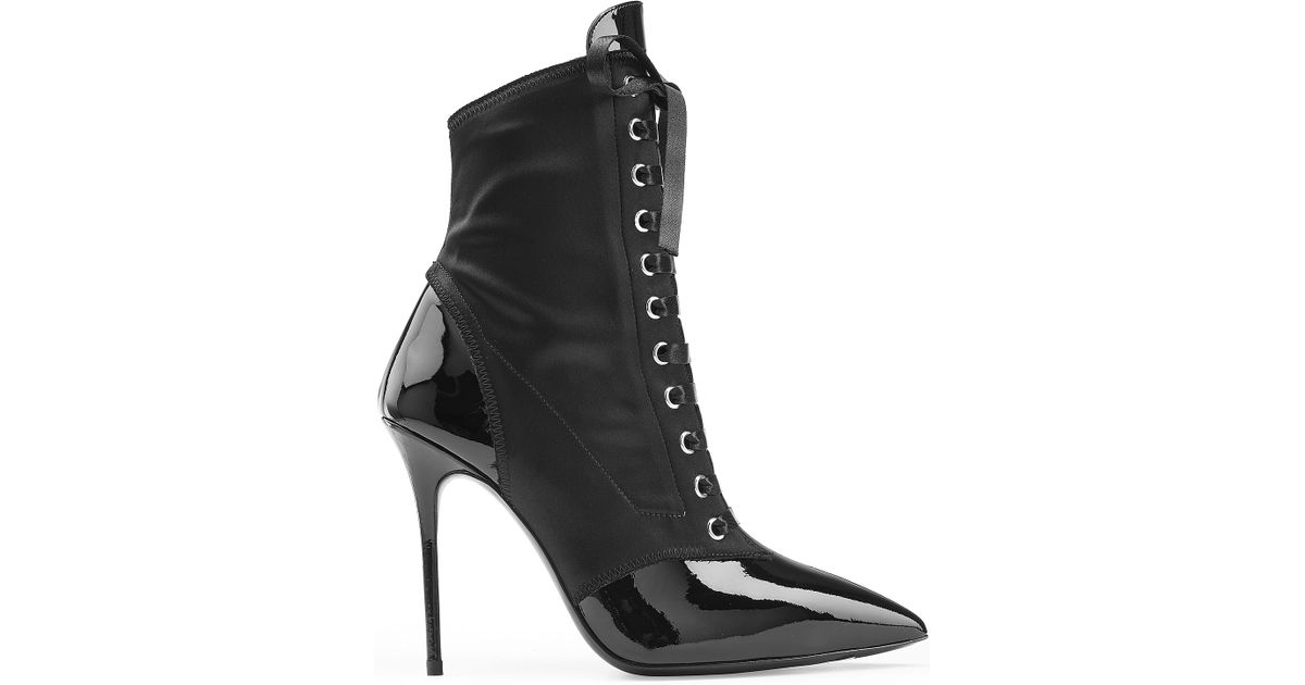 giuseppe zanotti patent leather leather lace up boots