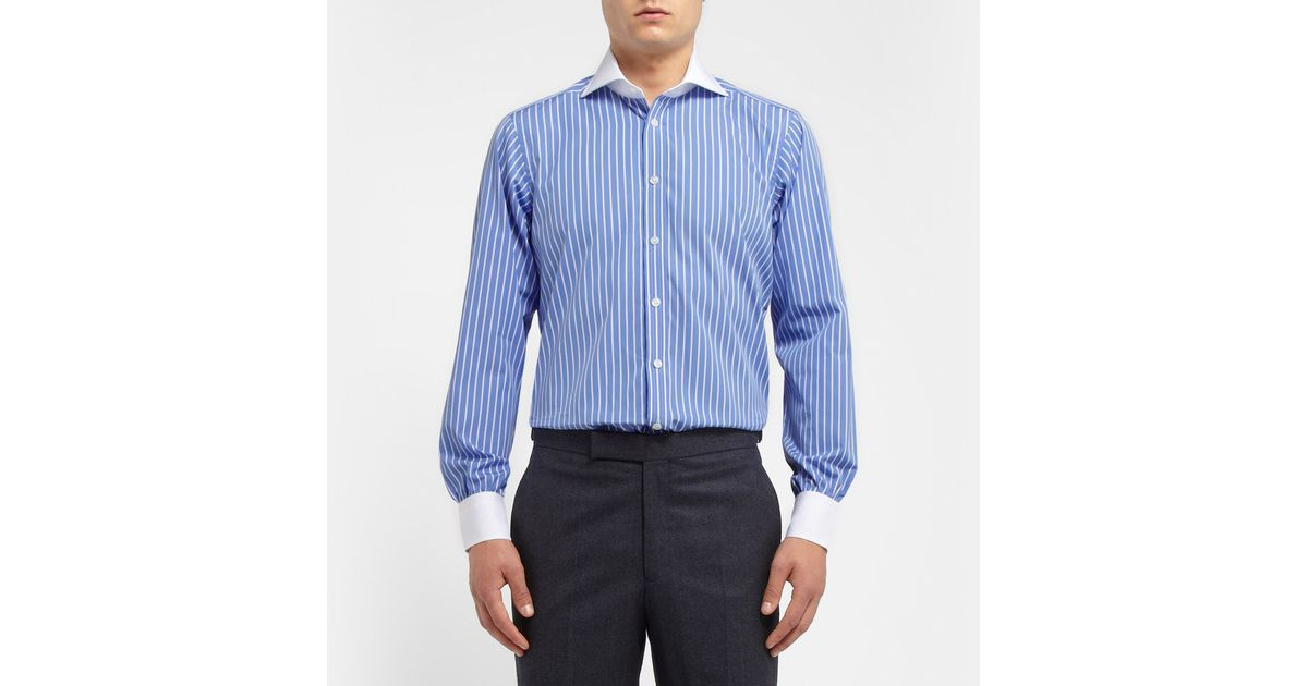 Lyst - Turnbull & Asser Blue Striped Contrast-Collar Cotton Shirt in ...