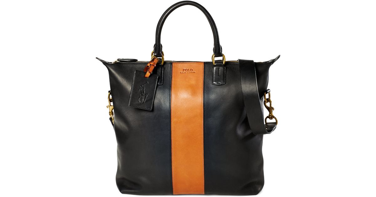 4160edf0615c Lyst - Polo Ralph Lauren Striped Leather Tote in Black for Men