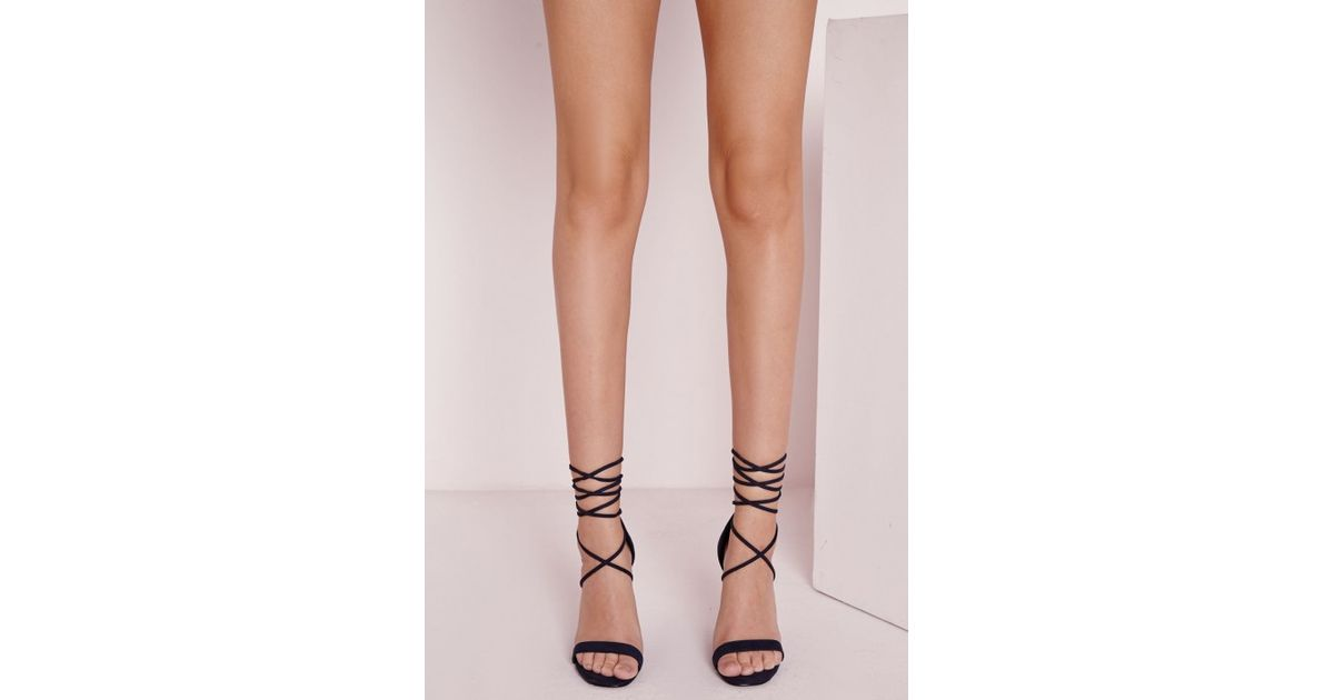 8c49d4475c75 Lyst - Missguided Lace Up Barely There Heeled Sandals Navy in Blue