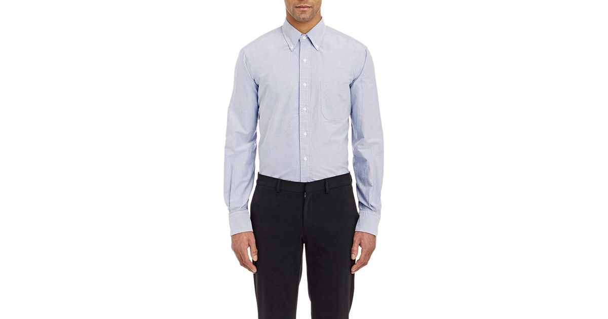 Thom browne oxford cloth shirt in blue for men lyst for Thom browne shirt sale