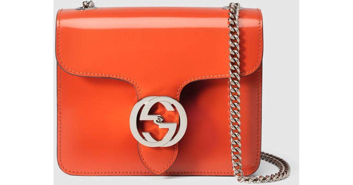 29a6fce49b47 Gucci Gucci Interlocking Leather Bag in Orange - Lyst
