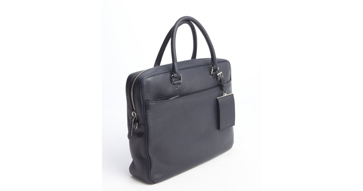 88579fa16292 ... clearance lyst prada navy leather top handle travel bag in blue for men  732eb 6f314