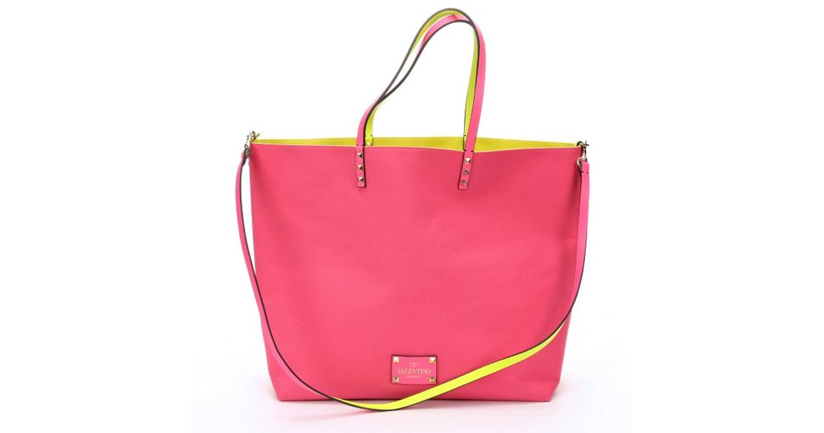 Valentino Bright Pink And Neon Yellow Reversible Canvas ...