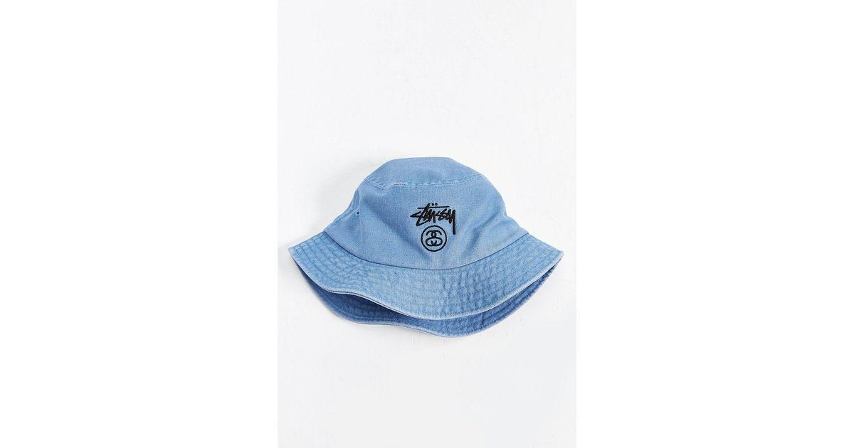 71226d1e0ad Lyst - Stussy Stock Lock Denim Bucket Hat in Blue for Men