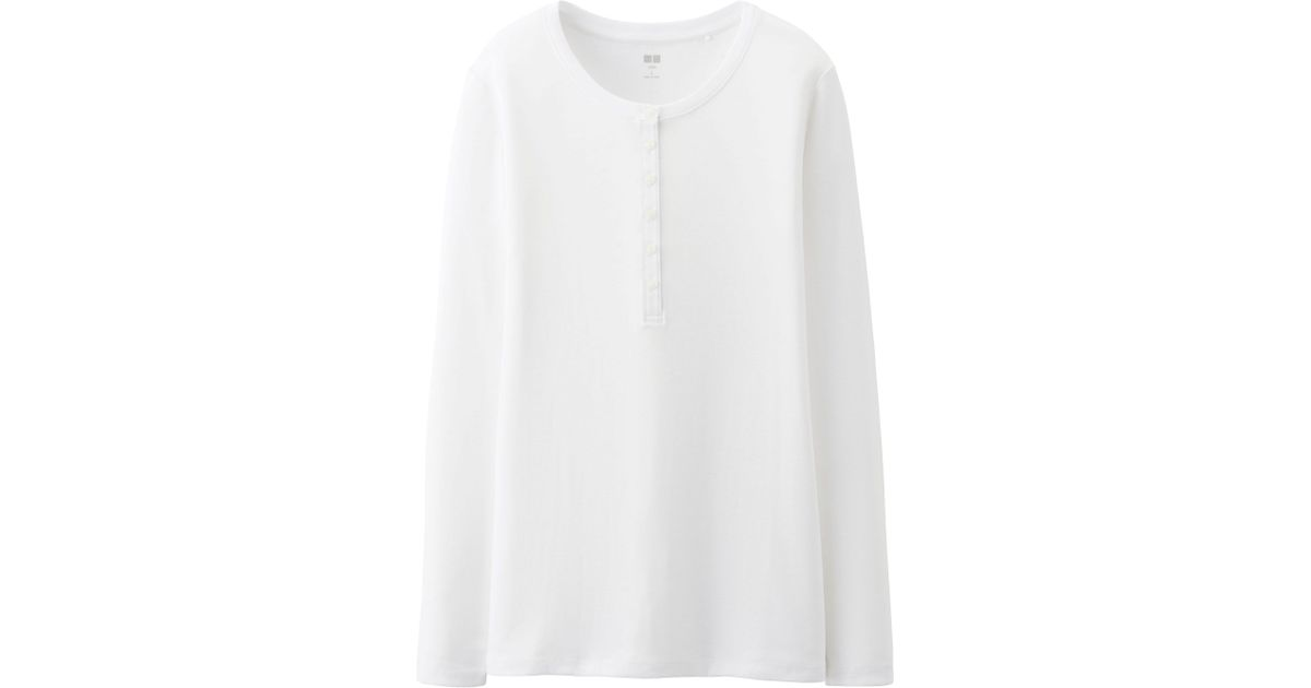 de5eb1f2 Lyst - Uniqlo Women Supima Cotton Modal Henley Neck Long Sleeve T in White