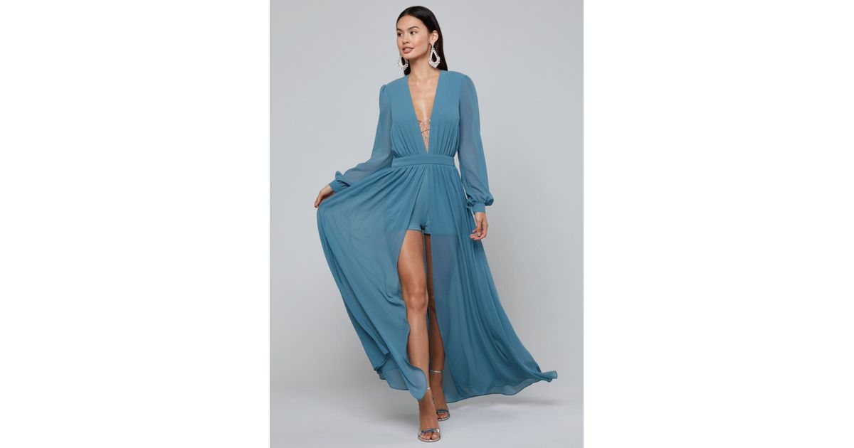 4f699c27f6e Bebe Ari Deep V-neck Shorts Gown in Blue - Lyst