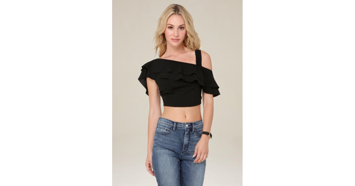 bebe techno ruffle crop top in black lyst. Black Bedroom Furniture Sets. Home Design Ideas