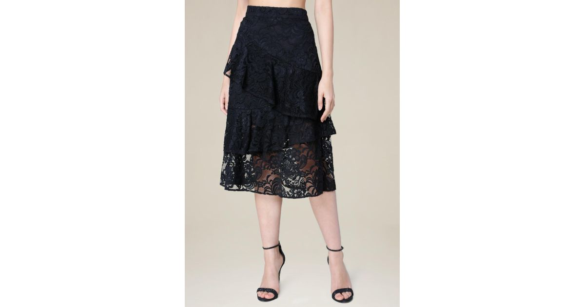 bebe wrap ruffle midi skirt in black lyst