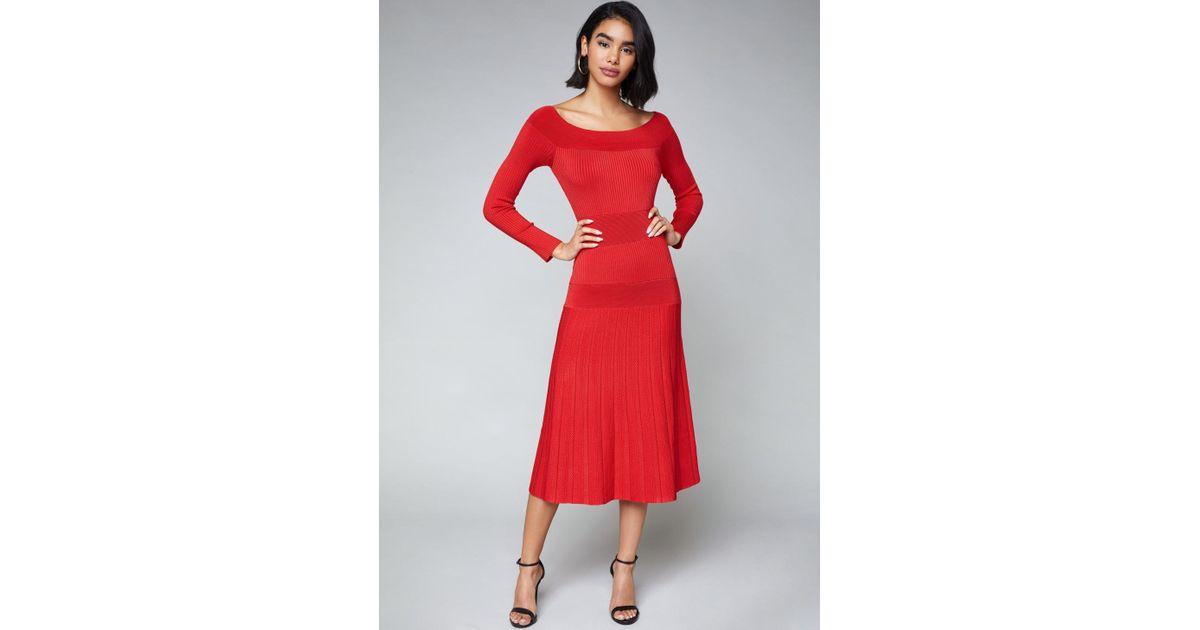 ba2ae39deb90 Lyst - Bebe Tatiana Sweater Dress in Red
