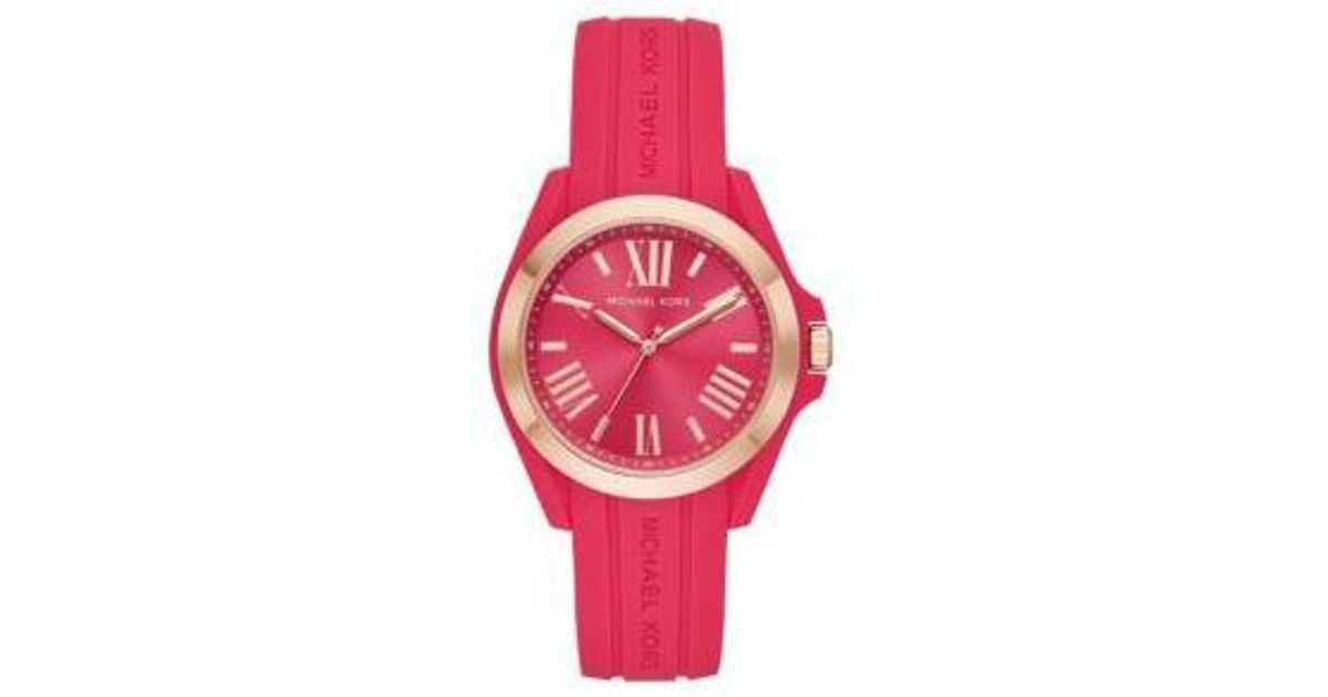 e2124e2331d4 Lyst - Michael Kors Silicone Bradshaw Watch in Red