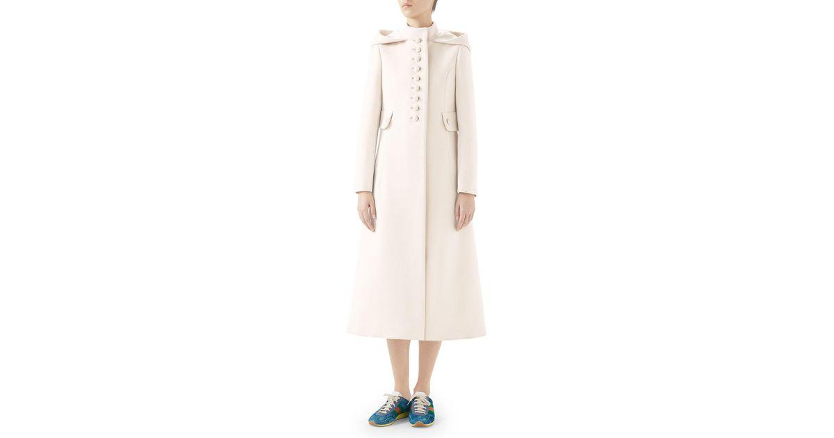 bca983b64 Gucci Gardenia Long Hooded Wool Coat in White - Lyst