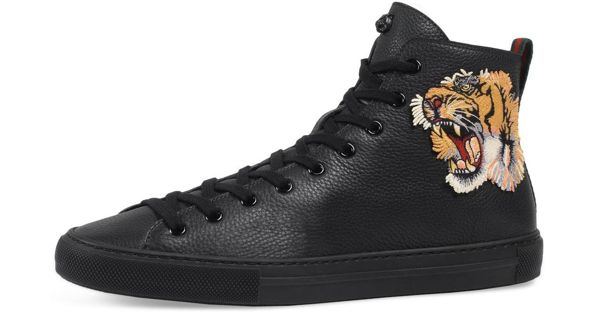 350f4d568824b Lyst - Gucci Men s Major High-top Sneakers W tiger Patch in Black for Men