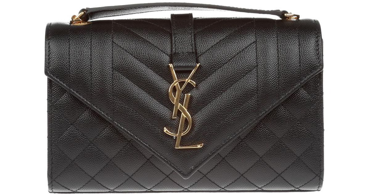 471569cf52 Saint Laurent Monogram Ysl Envelope Small Chain Shoulder Bag - Golden  Hardware in Black - Lyst