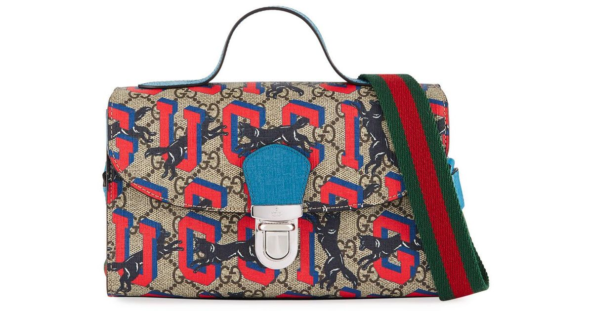 d137ddee8 Gucci Kids' Wolves-print Gg Supreme Top-handle Flap Bag in Blue - Lyst