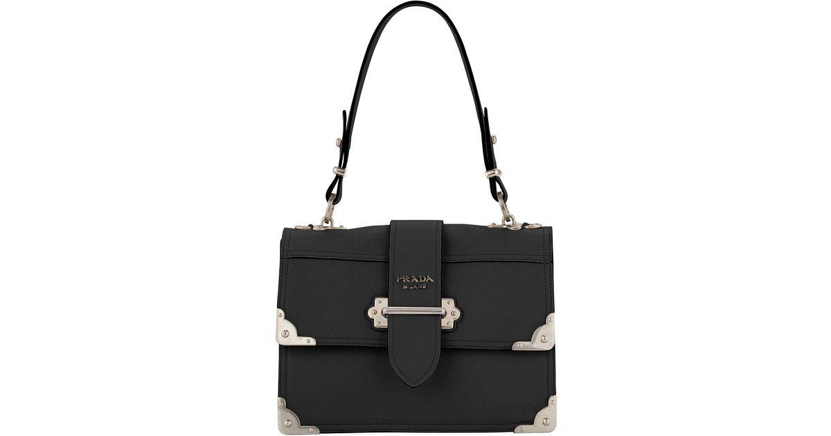 0f6cba626ba9 Lyst - Prada Top Handle Soft Cahier in Black