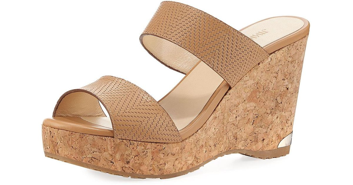 19edd704f6f5 Lyst - Jimmy Choo Parker Textured Leather Two-band Sandal in Brown