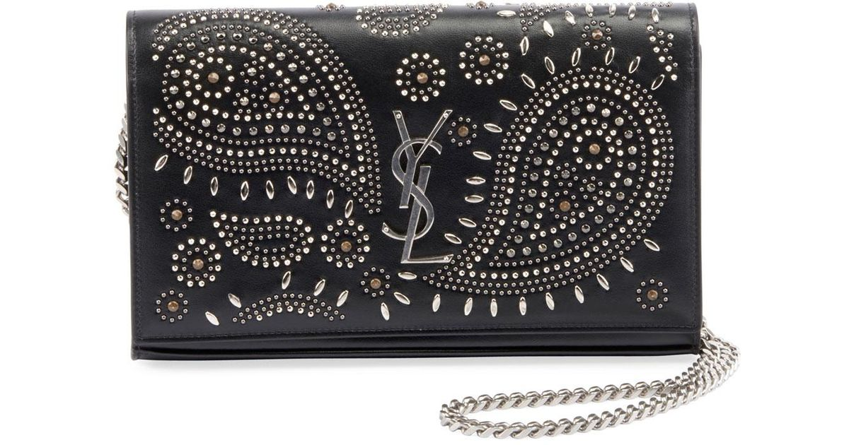 433d1bb18fa65 Lyst - Saint Laurent Kate Studded Leather Wallet On A Chain in Black