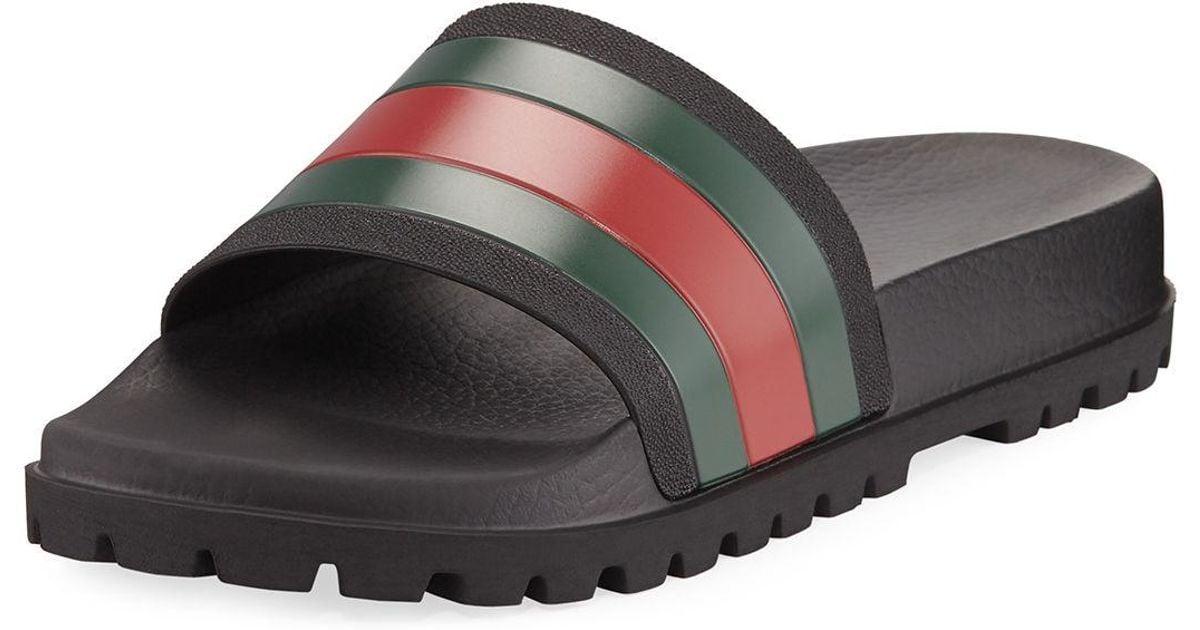 92134af6e13 Lyst - Gucci Pursuit Trek Web Slide Sandal in Black for Men