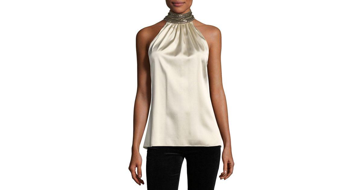 Lyst Ramy Brook Galina Jeweled Collar Silk Satin Blouse