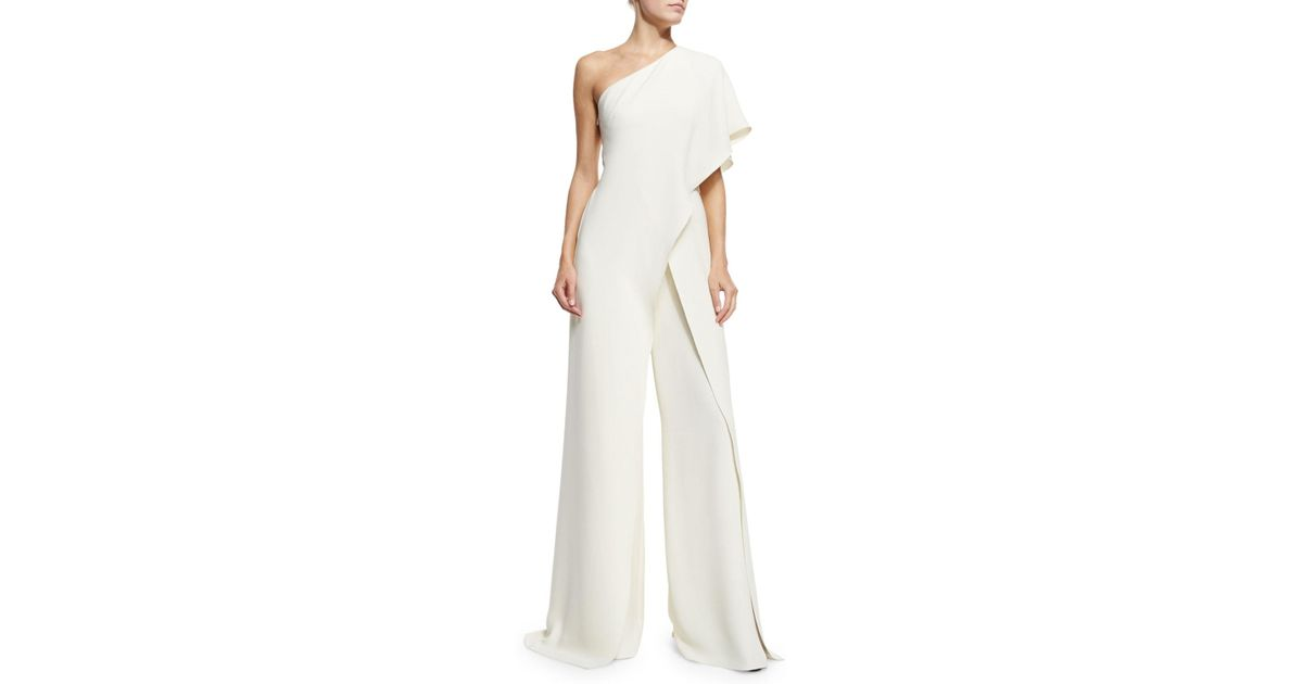 b796f37e97cf Lyst - Ralph Lauren Collection One-shoulder Silk Crepe Jumpsuit in White