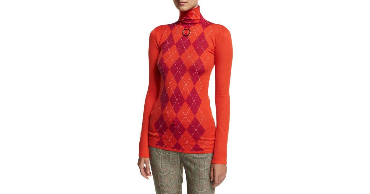 3de6d1a6c Lyst - Stella Mccartney Argyle Wool Turtleneck Sweater in Red