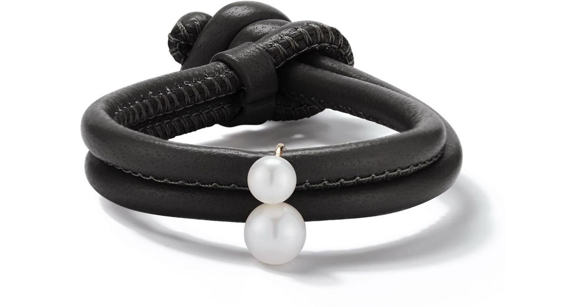 Mizuki Sea of Beauty Black Leather Wrap Bracelet with Pearls vnIvE