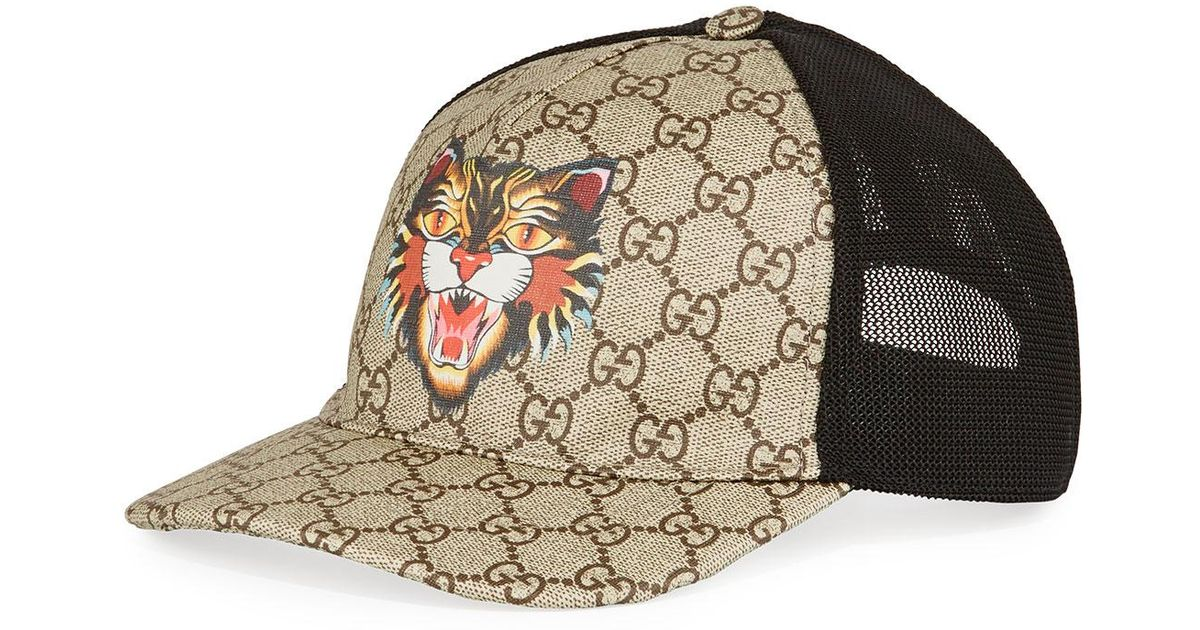 Lyst - Gucci Angry Cat Gg Supreme Baseball Cap in Brown for Men d1c7811f514