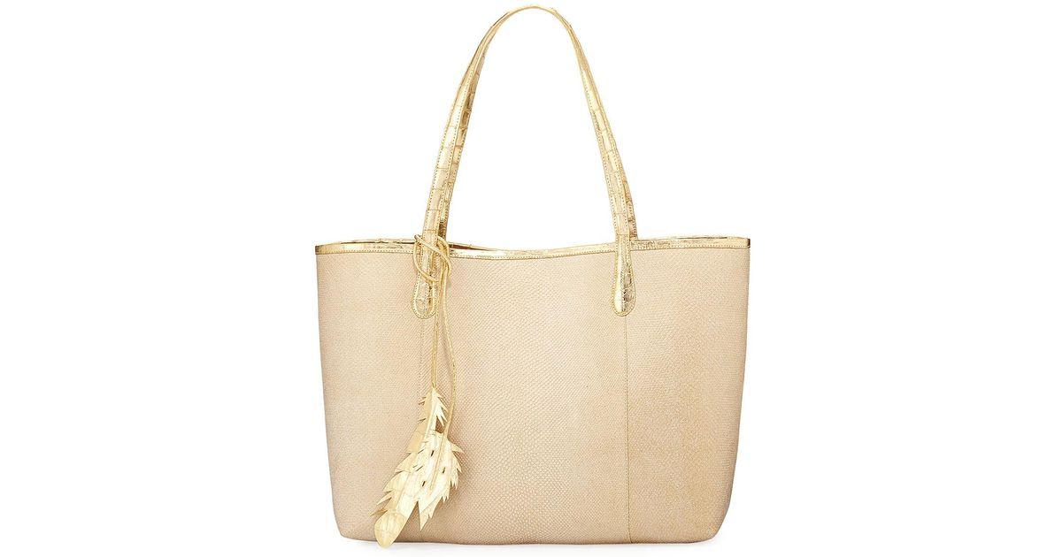 3222976ab84b Lyst - Nancy Gonzalez Erica Karung Snakeskin Leaf Tote Bag in Natural