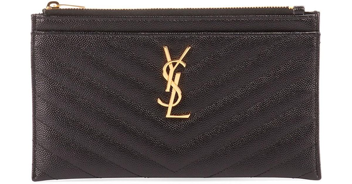 9f2ae7717b9 Saint Laurent Monogram Ysl Matte Quilted Bill Pouch Wallet in Black - Lyst